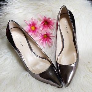 COACH silver heels